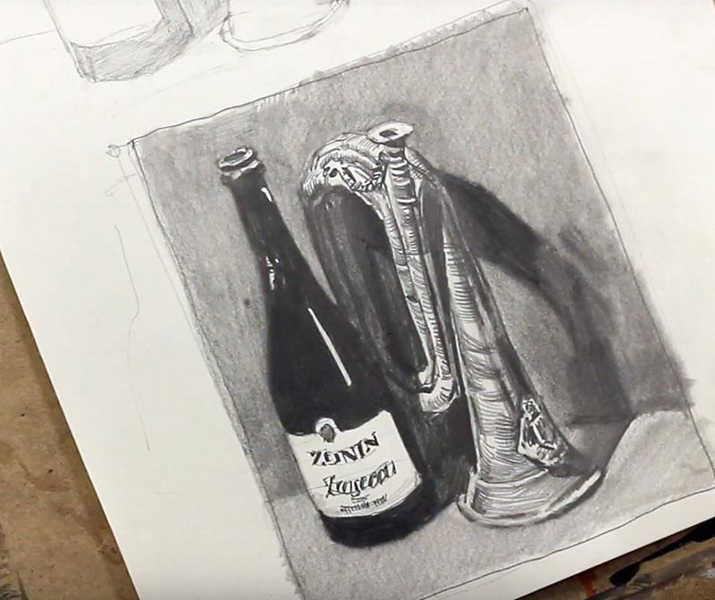 Wein Flasche und Horn. Andrei Krioukov-Zeichnen
