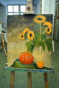 Kürbis und Sonnenblumen